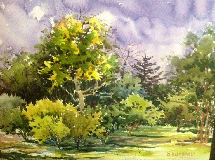 Plein Air Original Watercolor Backyard Orchard Tracy California  Pamela Wilhelm #loosewatercolor