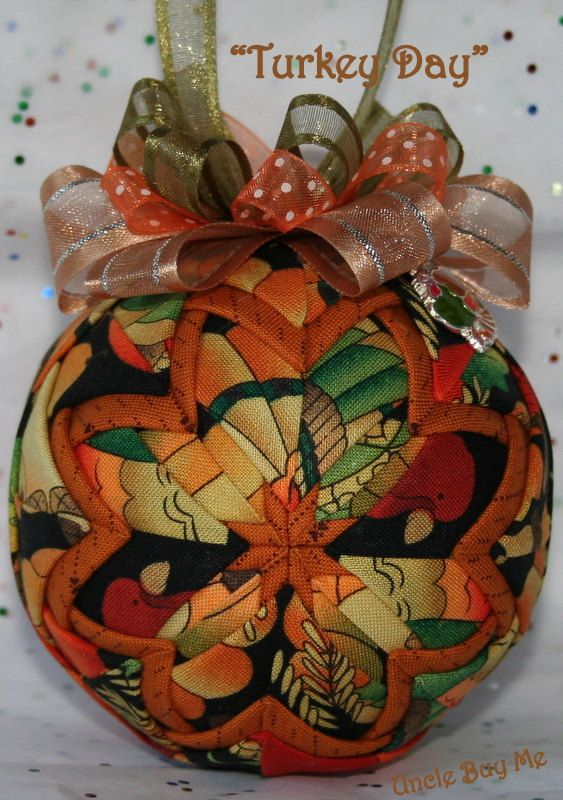 Quilted Ornaments Quilt Ball Ornaments Thanksgiving by unclebuyme