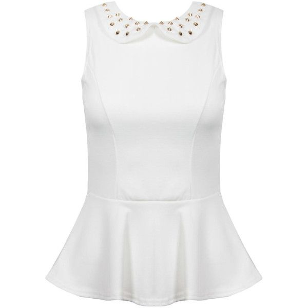 White Peplum Top with Studded Collar (1.470 RUB) ❤ liked on Polyvore featuring tops, shirts, peplum, blouses, studded top, collared peplum top, gold peplum top, white collar top and collared shirt