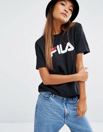 Fila - T-shirt oversize coupe boyfriend avec logo basique