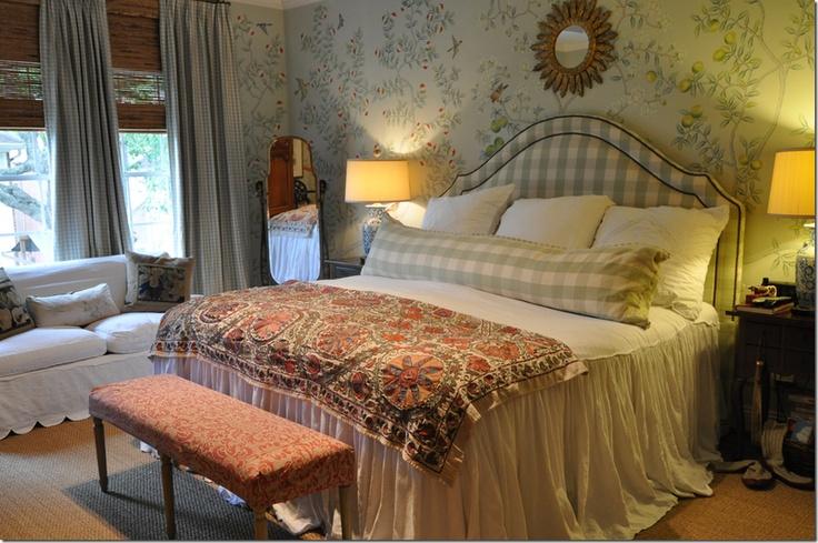 checks: Houses Bedrooms, Beds Skirts, Bedrooms Wallpapers, Cote De Texas, Master Bedrooms, New Bedrooms, Beds Linens, Joni Webb, Fabrics Headboards
