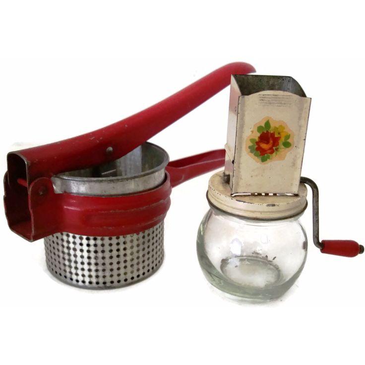 Vintage kitchen utensils, red potato ricer and nut grinder (c 1940s)