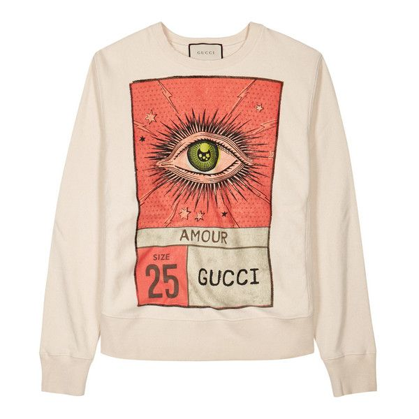 Gucci Off White Printed Cotton Sweatshirt ($940) ❤ liked on Polyvore featuring tops, hoodies, sweatshirts, off white sweatshirt, ripped top, print top, distressed sweatshirt and cotton sweatshirts
