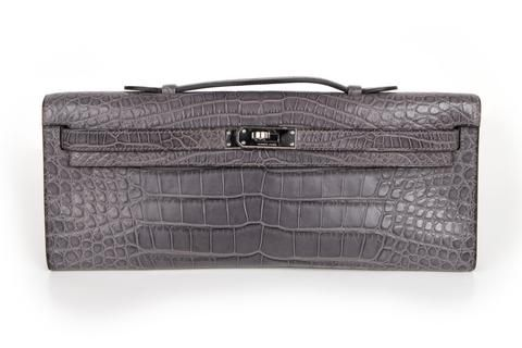 31a8cb568c79 Guaranteed authentic matte crocodile Hermes Kelly Cut in unicorn perfect  Gris Paris - the perfect.