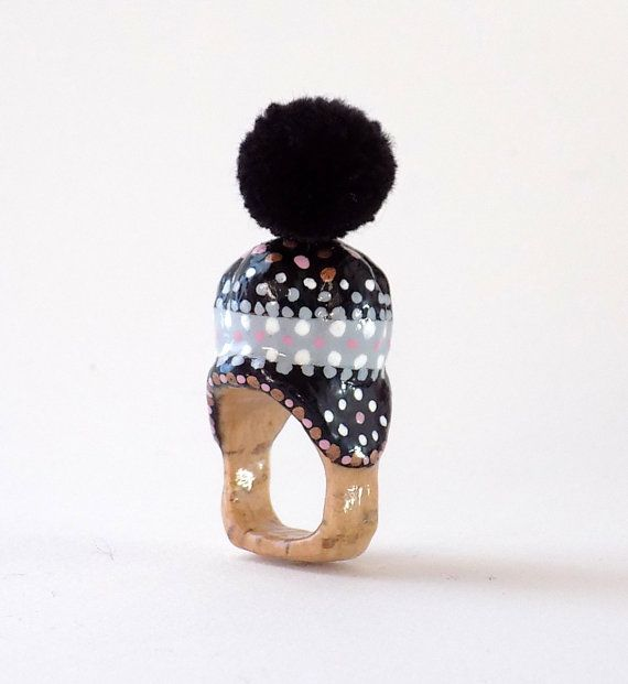 Ring, Black, Grey, Winter Cap, Statement Ring, Unique Jewelry, Boho jewelry, One-of-a-kind ring, Christmas gift, Gift for her, Winter hat