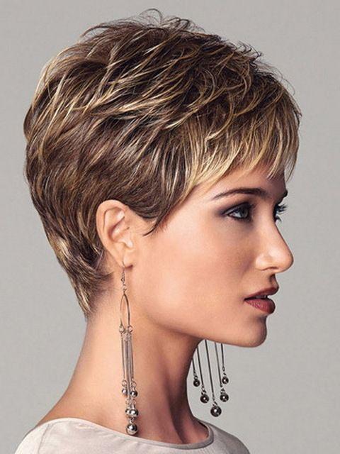 Synthetic highlights blonde short female haircut, puffy  pelucas pelo natural short hair wigs for black women