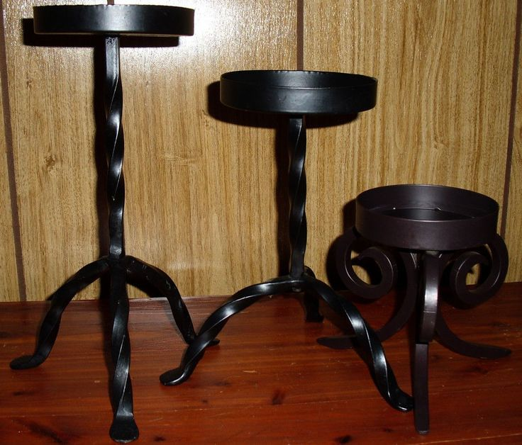 "Lot 3 Black Metal Gothic Pillar Candlesticks Candle Holders for  4"" Wide Candle #Target"
