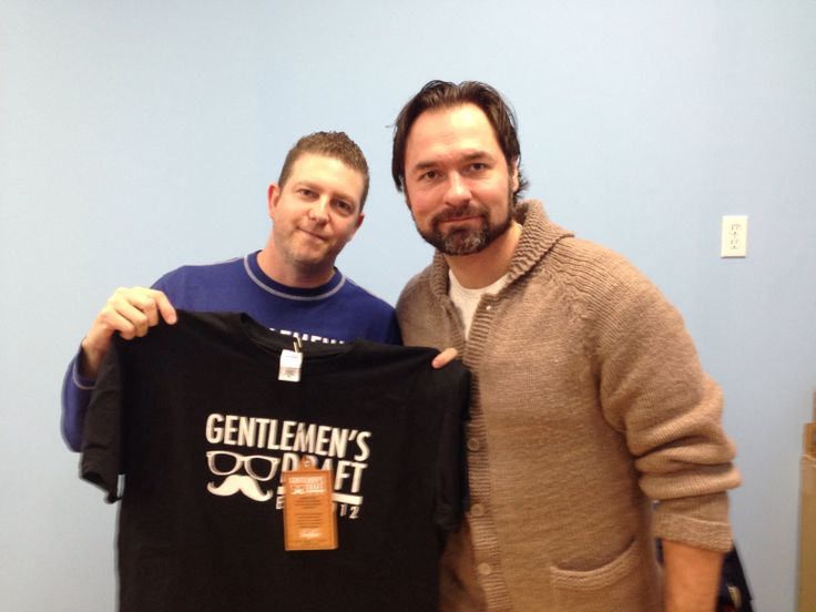 Darcey Tucker formerly of the Toronto Maple Leafs loves his Gentlemen's Draft Shirt.  Check out Gentlemen's Draft Clothing at https://www.facebook.com/GentlemensDraft   $2 from each item sold is donated to prostate cancer research.  Join us in  helping to fight cancer, one shirt at a time.   Stay classy like never before with our signature moustache and glasses logo on our custom designed threads.   Also check us out on: Instagram - gentlemens_draft