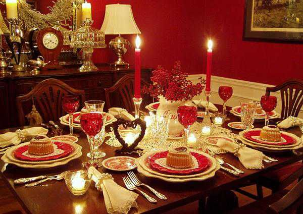 Dining Room, Awesome Red Dining Table For Valentines Day Ideas With Red Candle Light And Beautiful Table Manner Design: Interesting Romantic Moment At Dining Tables for Excellent Valentine Day