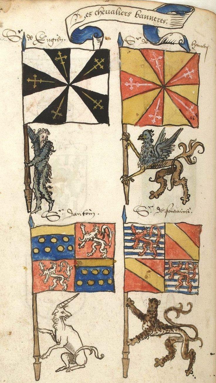 «Traité de blason et recueil d'armoiries, composés [probablement] par Noël Le Boucq, de Valenciennes», 1542-1543, 206 feuillets  [BNF Ms Fr 11463 -ark:/12148/btv1b8470183m] -- See more at: http://bookline-03.valenciennes.fr/bib/common/viewer/tifmpages.asp?TITRE=Ms+809&FILE=Ms0809-26chevaliers%2Etif -- f°180v: Les chevaliers bannerets : Enghien, Havrech, Antoing (Melun/Antoing), Fontaines (Luxembourg/Hennin)