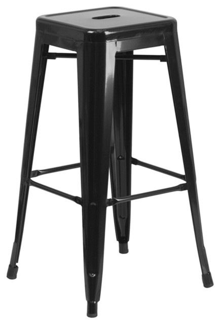 Backless Metal Indoor/Outdoor Bar Stool With Square Seat, Black, 30'' contemporary-outdoor-bar-stools-and-counter-stools