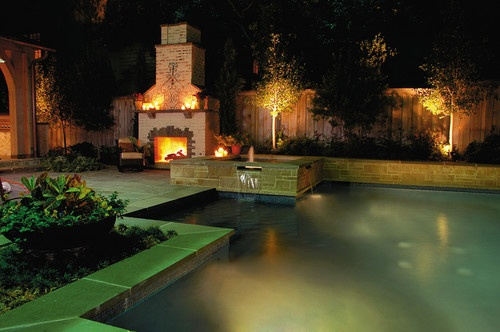 Saltwater Pool and Spa with Outdoor Fireplace - eclectic - pool - dallas - Bonick Landscaping