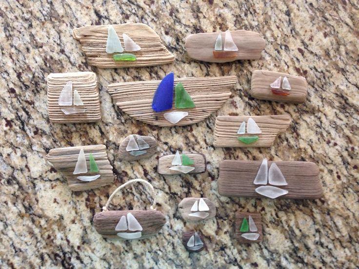 Sea glass sail boats on driftwood