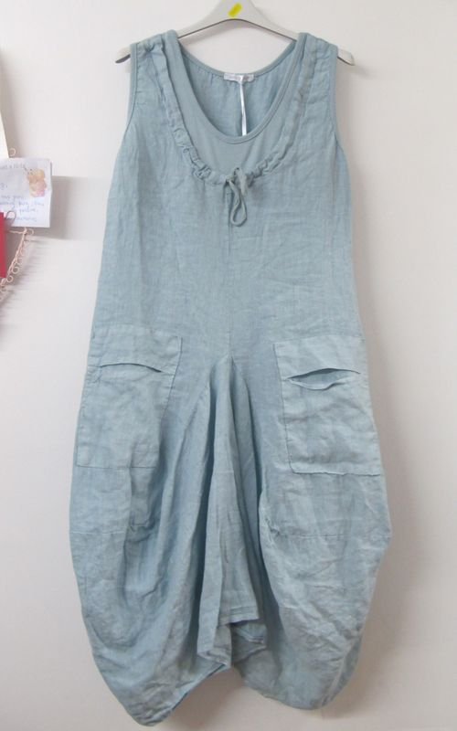 Monton Lagenlook Linen Tunic Dress Light Blue