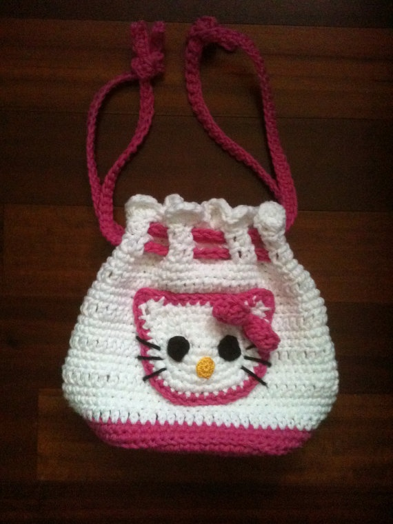 Custom Boutique Crochet Hello Kitty Drawstring by KuddleznKissez, USD24.99 Be...