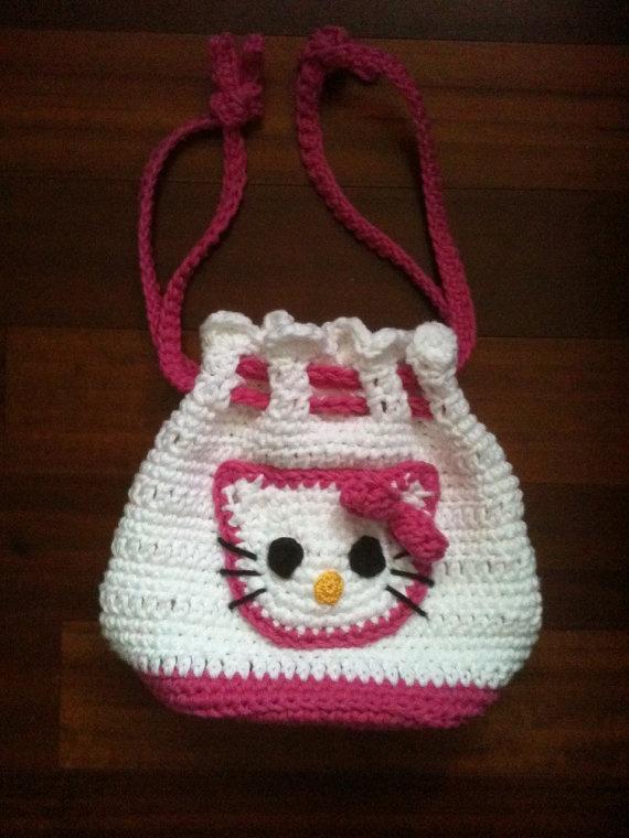 Free Crochet Pattern Hello Kitty Bag : Custom Boutique Crochet Hello Kitty Drawstring by ...