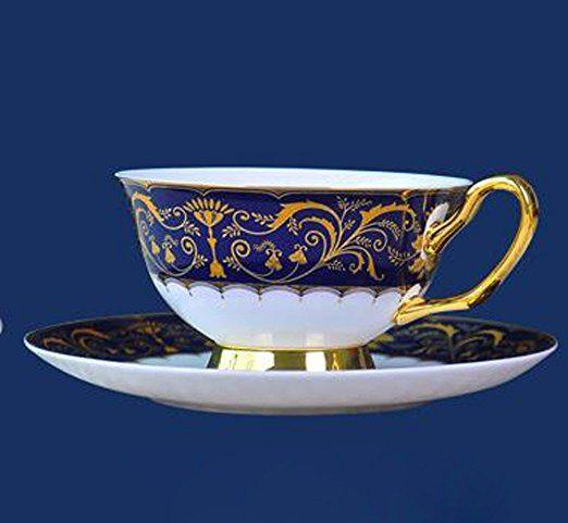 ZJM Alto grado de taza de café de porcelana China continental Phnom Penh británico, juego de té de cerámica pintada a mano,2 taza de flores