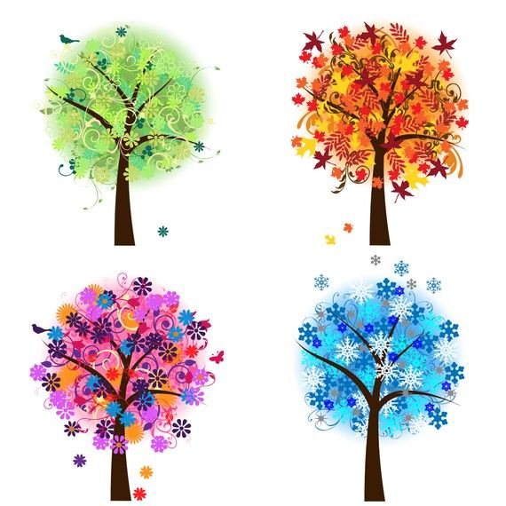Four Seasons Trees Clipart Clip Art Spring Summer by PinkPueblo
