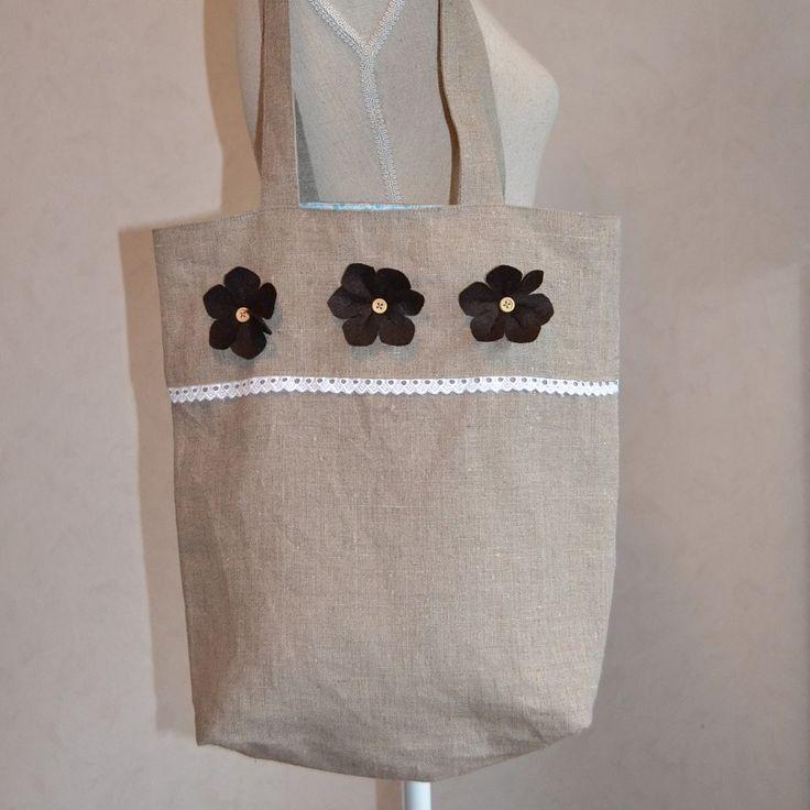 linnen tas met kantje   Tas. Vilten bloemen. Handgemaakt