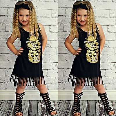 Toddler Kid Baby Girls Black Casual Dress Princess Party Pageant Holiday Dresses