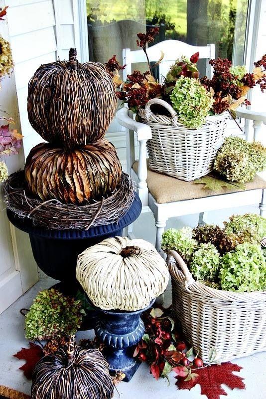 Autumn Doorway#WickerPumpkins#FallHydrangeas#Urns#WickerBaskets