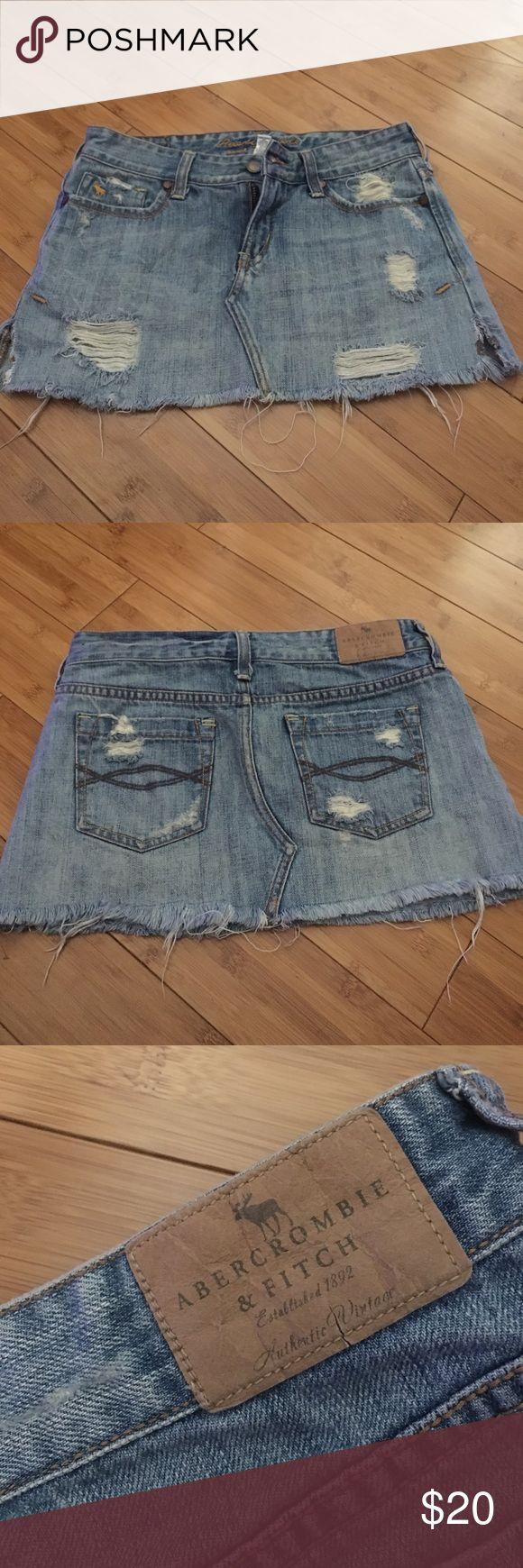 Abercrombie and Fitch short denim skirt Size 00 short mini denim skirt. Distressed look, good condition Abercrombie & Fitch Skirts Mini