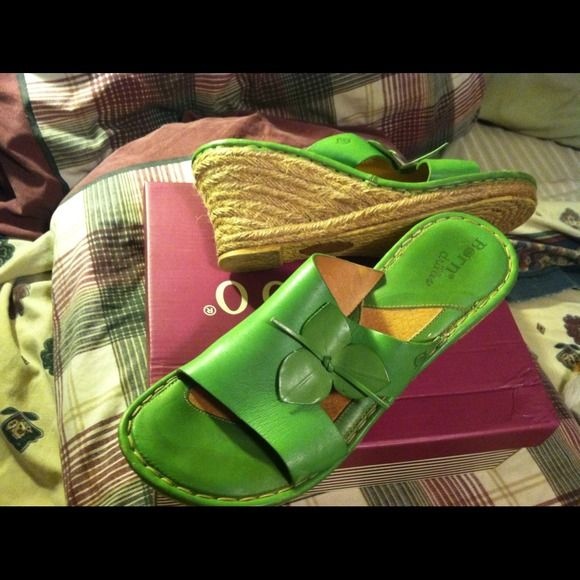 💥Reduced💥Lime Green Wedges These came from another posher , I didn't get to wear these wrong color for My outfit soo Im reposhing, these are slightly worn but still has plenty miles left to walk in.. Any ??? Just ask.. Thanks Born Drillies Shoes