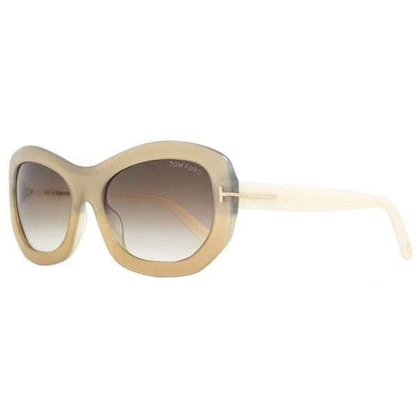 Tom Ford Oval Sunglasses Tf382 Amy 34f Champagne/ivory Ft0382 (900 DKK) ❤ liked on Polyvore featuring accessories, eyewear, sunglasses, oval glasses, white vintage sunglasses, oval sunglasses, tom ford and tom ford glasses