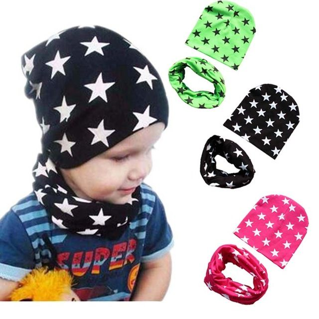 Baby Kids Boy Girl Star Hat Neck Scarf Autumn Winter Cotton Cap 2pcs//Set