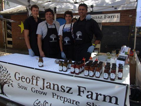 The Geoff Jansz Farm team at Bowral Markets with our range of products including; Roasted Capsicum Jame, Spiced Tomato Relish, plus Hot and Sweet Chilli Sauce.