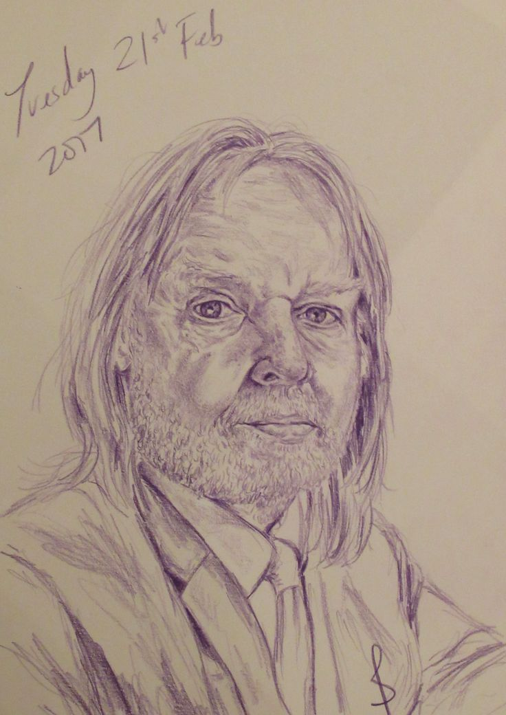 Pencil portrait of musician Rick Wakeman by Sophie E Tallis