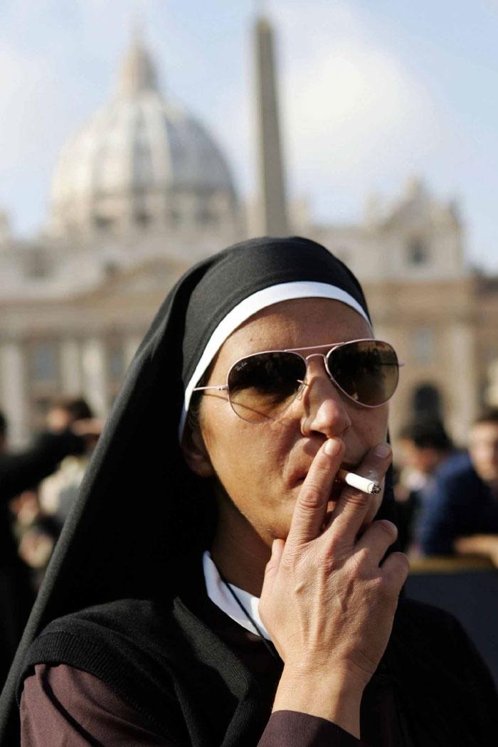 a smoking transvestite nun...hmmm | where there's smoke ...
