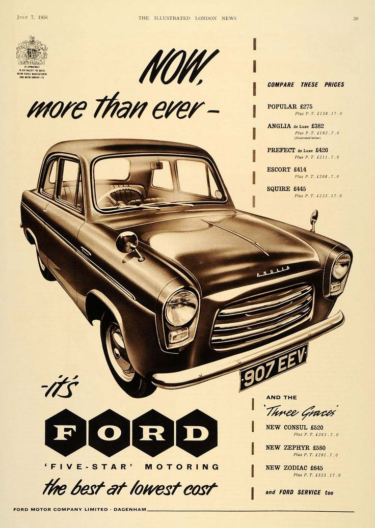 1956 Ad British Ford Anglia Car Automobile Dagenham