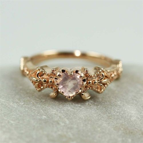 Very pretty, wouldn't want the heart shape though Pink Gold Floral Rose Quartz Ring