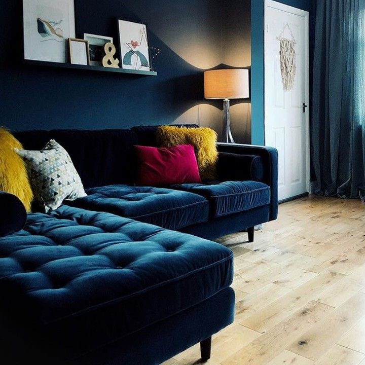 This Amazing Living Room Belongs To Porter And Porter And Features Our Carluccio Corner Sofa I Blue Sofas Living Room Blue Sofa Living Velvet Sofa Living Room