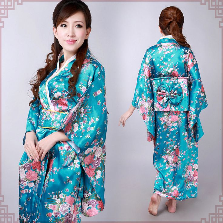 Pink floral turquoise blue kimono traditional Japanese ...