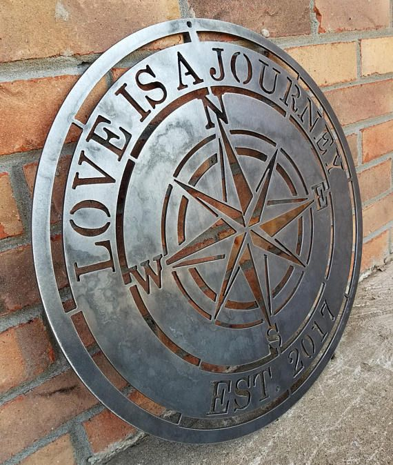 Personalized Compass Rose Nautical Established Metal Sign House