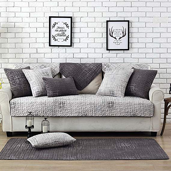 Amazon Com Lesic Polyester Cotton Sofa Slipcover Multicolor Lattice Couch Cover For Loveseat Sectional Sofa Twill Grey Couch Covers Couch Covers Cool Couches