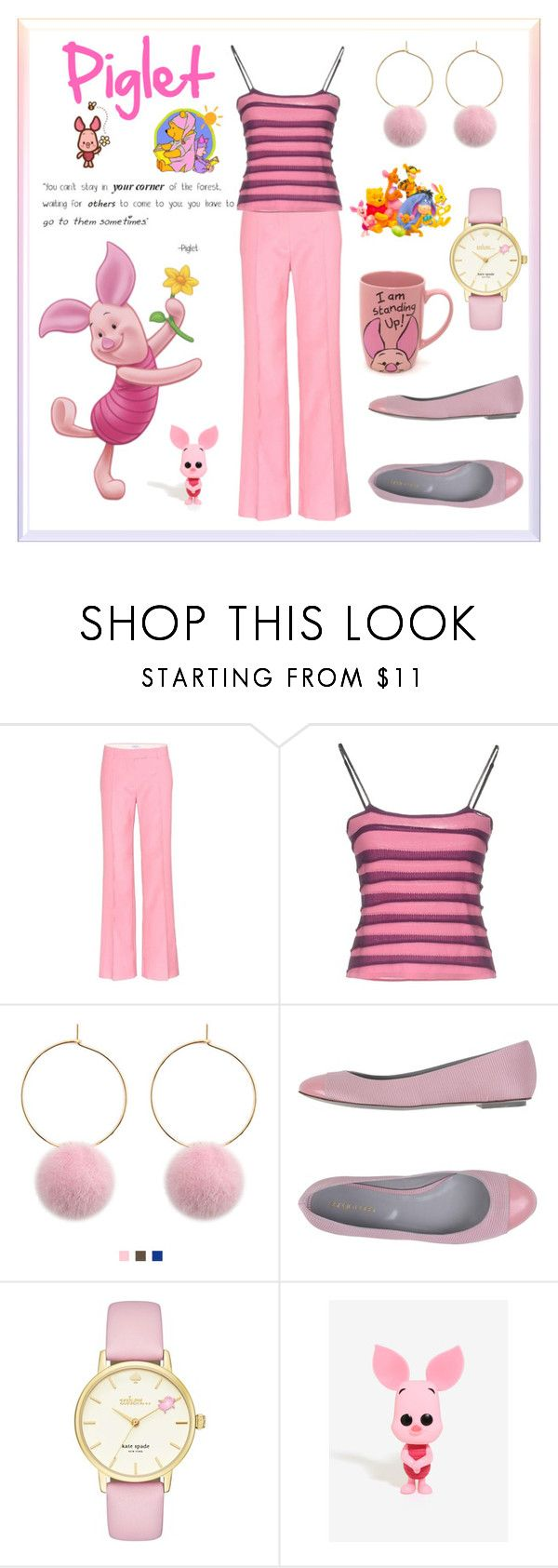 """""""Piglet Inspired Outfit 💜💗"""" by shannon-brennan ❤ liked on Polyvore featuring Valentino, Pianurastudio, Sergio Rossi, Kate Spade, Disney and Funko"""