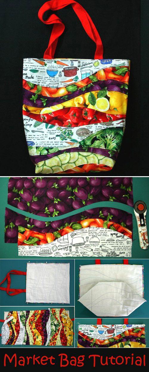 Sew Wavy Farmer's Market Bag – Free Sewing Tutorial  http://www.handmadiya.com/2017/05/recycled-market-bag-tutorial.html