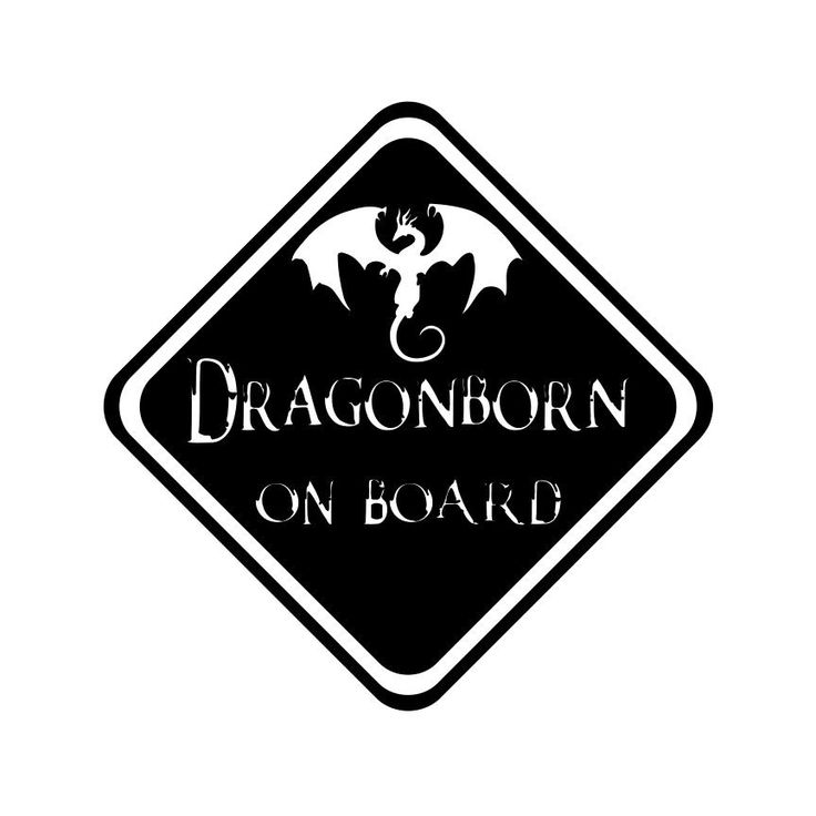 Skyrim Inspired Dragon Born on Board Vinyl Decal Elder Scrolls Baby Sticker Macbook Car Decal Window Sticker 0149 by SidratDecals on Etsy