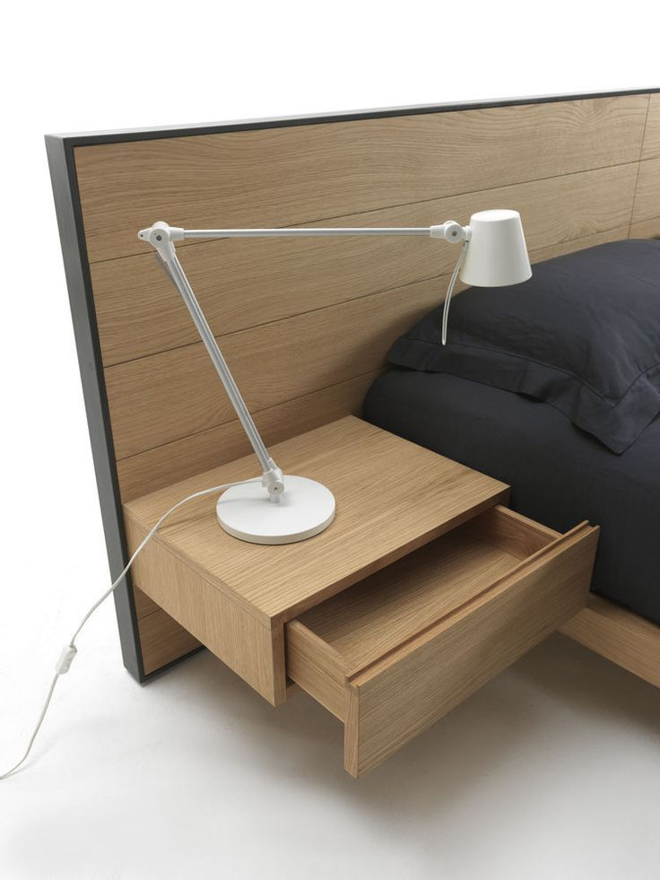 Double bed / contemporary / bed-side table / in wood - RIALTO by Giuliano Cappelletti - Riva Industria Mobili