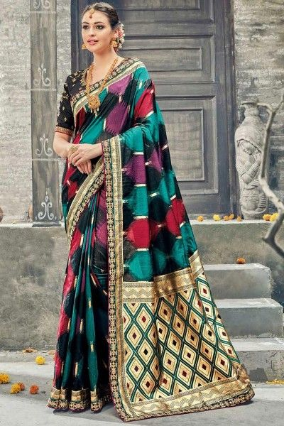 Art Silk Weaving Print Traditional Black Saree