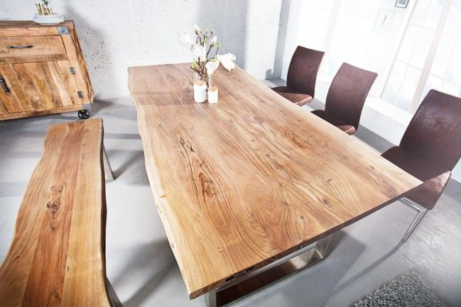 Massiver Baumstamm Tisch MAMMUT 200cm Akazie Massivholz Industrial Chic  Kufengestell mit 3,5 cm dicker Tischplatte