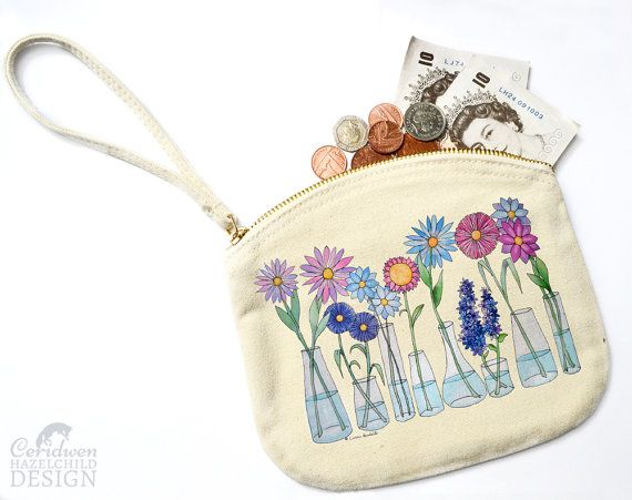 Flowers Canvas Zip Purse Makeup Bag Coin Purse Small Accessory Pouch by ceridwenDESIGN http://ift.tt/1ZybQyU