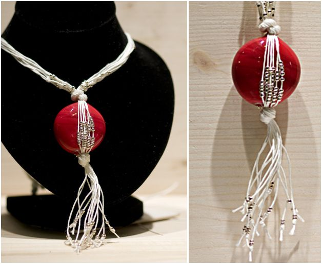 Wrapped bright red Murano glass bead pendant