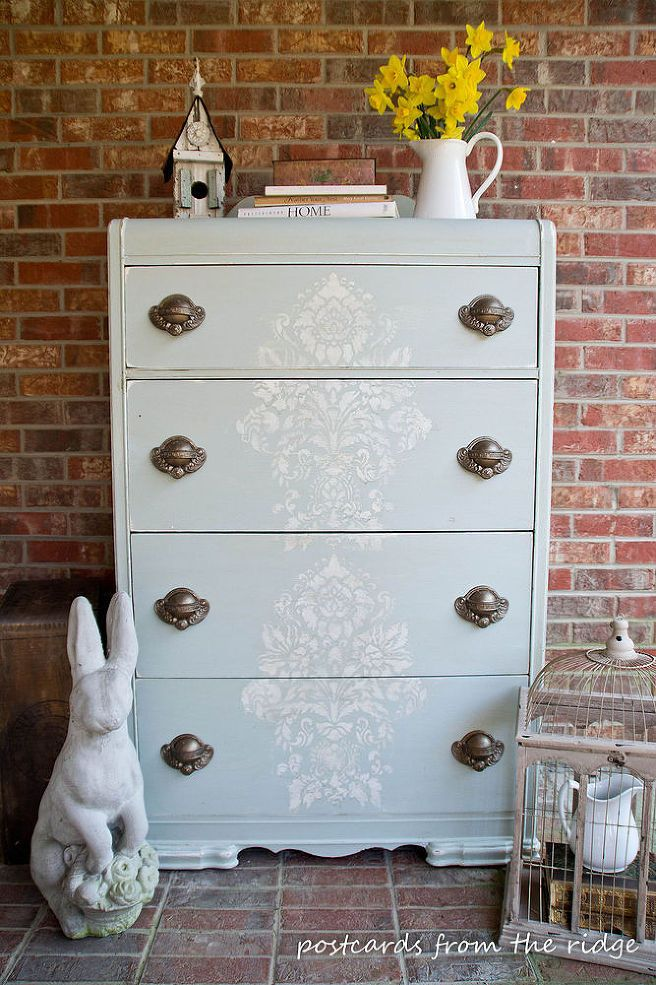 chest of drawers gets old world makeover with stencil