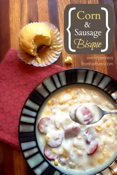 This Corn and Sausage Bisque recipe is super hearty and easy to make. The family calls it corn and sausage chowder. :) Serve with some cornbread muffins...YUM! It's a new family favorite!