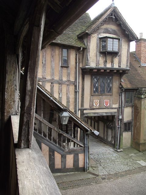 The Lord Leycester Hospital, Warwick, England dates from 1126 was built for ageing or injured soldiers and their wives, now a retirement home for ex soldiers