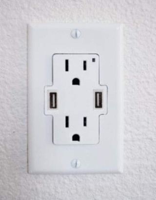 Double 3 pronged socked, double USB port.  I need this for every outlet in my house!  #home #office #organization #tech #stuff